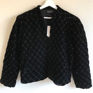 NWT Something Navy Beaded Velvet Quilt Jacket